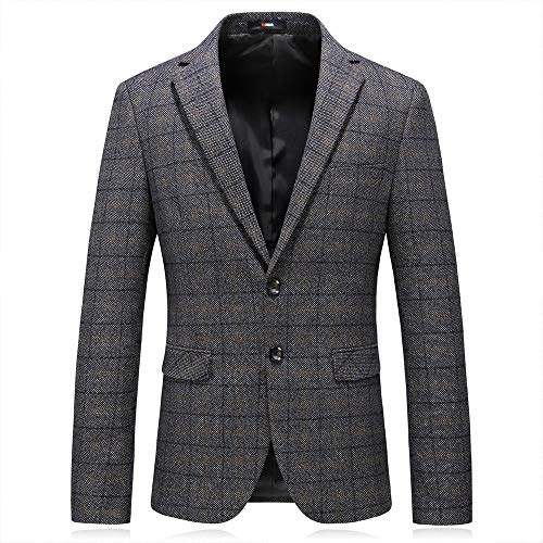 Single Breasted Two Button Sport Coat - MAGE MALE Men's Plaid Blazer Jacket Slim Fit Causal Sport Coat Two Button Notched Lapel Formal Dinner Jacket Suit Gray