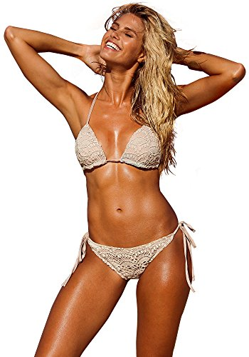 Lookbook Store Women's Khaki Halter Triangle Cups Crochet Floral Bikini Swimwear US 8