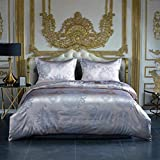 Silver and Purple Duvet Sets AiMay Duvet Cover Sets Satin Jacquard Rich Silk 100% Luxury Super Soft Microfiber with Zipper Closure Fashion Color with Elegant Pattern Comfortable (Queen)