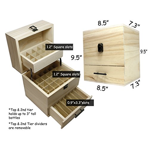 SXC Essential Oil Wooden Box Multi-Tray Organizer, 3 Tiers Storage Case Protects 45 5-15 mL Essential Oil Bottles and 14 10 mL Roller Bottles for Travel and Presentations by SXC (Image #3)
