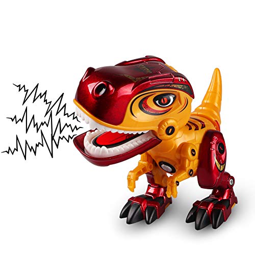 DX DA XIN Interactive Dinosaur Toys for Kids Mini Dinosaur Robots Mechanical Tyrannosaurus Sark with Eyes Lights and Roaring Sounds, Flexible Body, Dinosaur Gift for Boys Age 3-10 (Red&Orange)