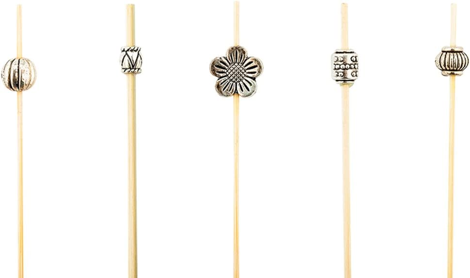 4 Inch Decorative Cocktail Skewers, 1000 Metal Bead Appetizer Picks - Disposable, Sustainable, Silver Bamboo Wooden Cocktail Picks, For Garnishes Or Foods - Restaurantware