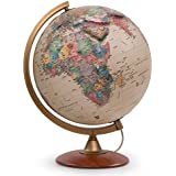 """Waypoint Geographic Light Up Globe with Raised Relief - Colombo 12"""" Desk Decorative Illuminated Antique Ocean Style, Up to Date World Globe"""