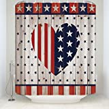 Lovingin Rustic Country Barn Wood Door Flag Stars With Love Heart NavyRed Shower Curtain
