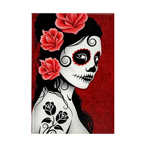 Rectangle Red Magnet (CafePress - Day of the Dead Girl - Deep Red Rectangle Magnet - Rectangle Magnet, 2