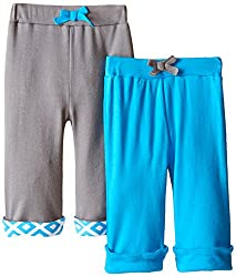 Yoga Sprout Baby-Boys Yoga Pants Elephant, Blue Elephant, 0-3 Months (Pack of 2)