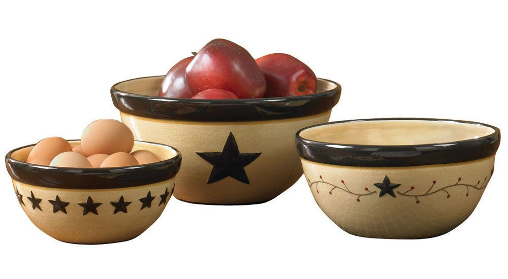Park Designs Star Vine Mixing Bowls (Set of 3), Multicolor