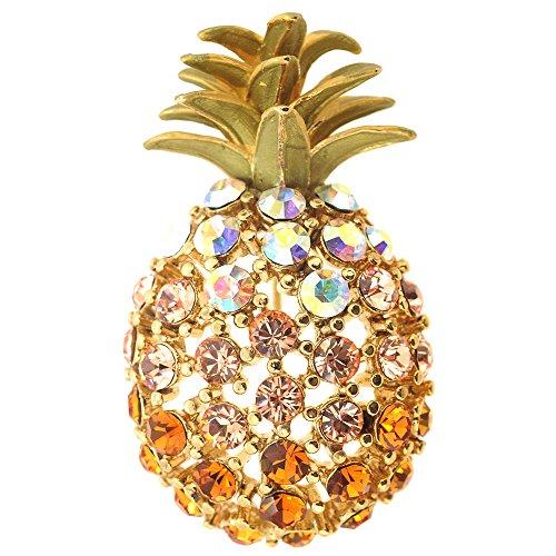 Multicolor Golden Pineapple Crystal Pin Brooch - Golden Pin Brooch