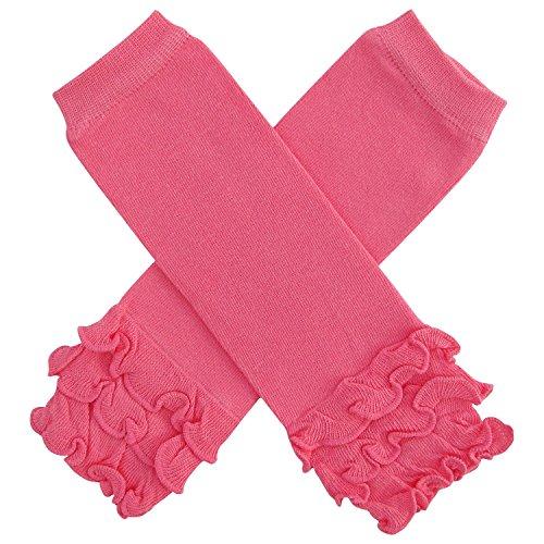 So Sydney Baby Toddler Little Girl Ruffle Bottom Polka Dot & Stripe Leg Warmers (Ruffle Solid Hot Pink) -