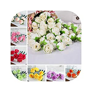 Blue Skieses 50pcs Artificial Silk Rose Flower Heads Bulk Craft Wedding Party Decoration Home Decor DIY House New 59