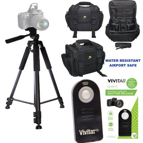 PROFESSIONAL 60'' TRIPOD + WELL PADDED WEATHER RESISTANT CASE + REMOTE FOR NIKON D3000 D3100 D3200 D3300 D3400 D5000 D5100 D5200 D5300 D5400 D5500 D5600 by DSLR DEPOT