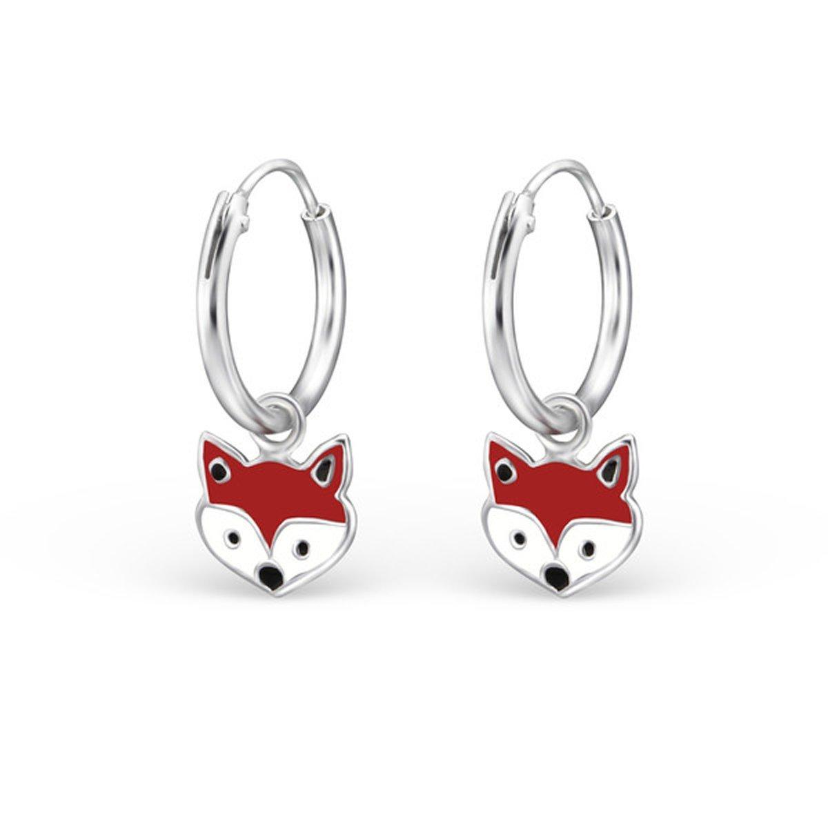 Cute Fox Hoop Earrings Kids Girls Childrens Enamel Silver Earrings 925 (E28050) by PTN Silver Jewelry (Image #1)
