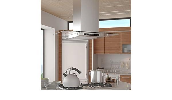SHENGFENG Campana extractora de cocina a Isla con pantalla LCD ...