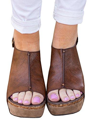 Syktkmx Womens Platform Wedges Open Toe Comfort Slingback Cork Heel Ankle Bootie (Leather Peep Toe Slingback Wedge)