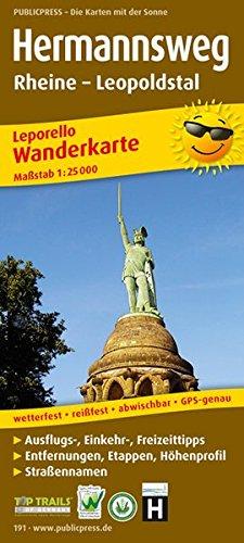 Hermannsweg, Rheine - Leopoldstal: Leporello Wanderkarte mit Ausflugszielen, Einkehr- & Freizeittipps, Straßennamen, Höhenprofil und Etappen, ... 1:25000 (Leporello Wanderkarte / LEP-WK)