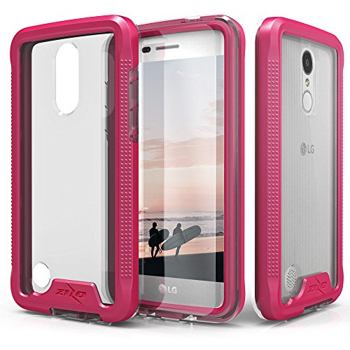 Zizo ION Series Compatible with LG Aristo Case Military Grade Drop Tested with Tempered Glass Screen Protector LG Fortune Case Pink Clear ()