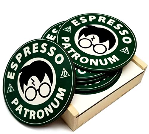 Espresso Patronum Coasters- Set of 5-3.75 x 3.75 Inch 4mm Thick - Cork Bottom - Wood Coaster Set Holder Included - Makes Perfect Gift ()