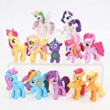 Grocoto Action & Toy Figures - 12pcs/Set Toys Mini Pony PVC Action Figures Set Rainbow Dash Twilight Sparkle Apple Jack Spike The Dragon Dolls 1 PCs