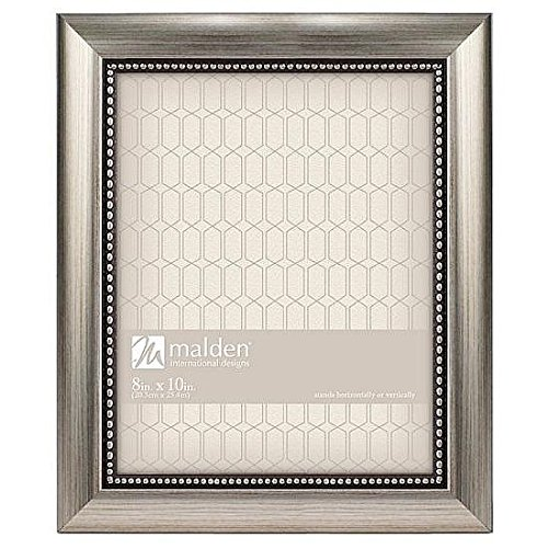 Silver Brushed Baby Frame (Malden International Designs Classic Mouldings Champagne Beaded Picture Frame, 8x10, Silver)