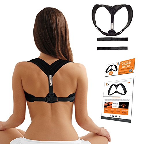 Posture Corrector Back & Shoulder Support Brace For Women, Men & Teens Ideal Athletic™ - Breathable Neoprene, Adjustable Straps For Comfy Fit Who Alleviate Back Pain & Soreness - Improve Bad Posture by Ideal Athletic