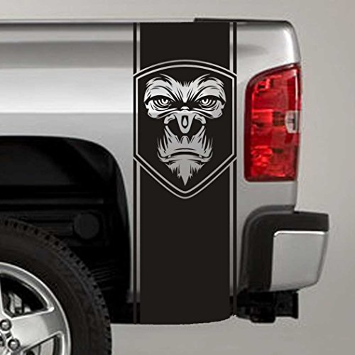 Jeepazoid - Truck Bed Stripe Decal - Gorilla Face Badge Universal Fit - Black Sticker - (Pair - Left and Right)