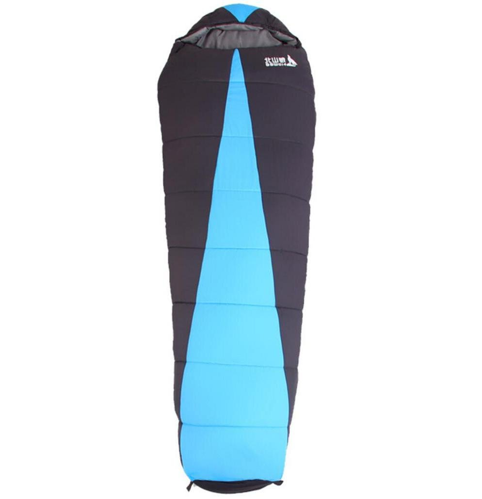 f15edea4d847 キャンプ寝袋Cold Keep Warmアウトドア撥水二層厚く封筒Sleepingバッグ B0762MSNTV ブルー, ...