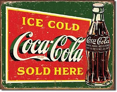 SRongmao Coca Cola Coke Ice Cold Green Sold Here Advertising Vintage Look Retro Metal Tin Sign 8x12in