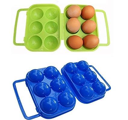 kimberleystore 1pc Caja de huevos de plástico plegable bolsa para Picnic contenedor para 6 huevos (