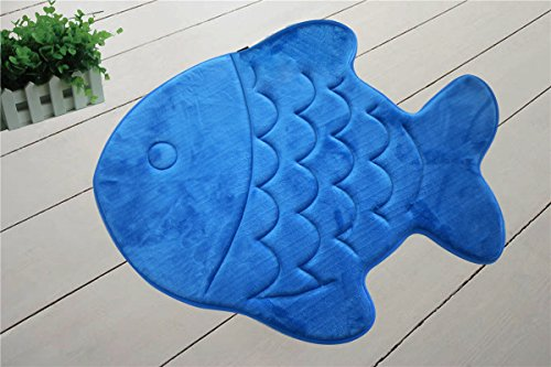 Incredibly Soft and Absorbent Kid's Memory Foam Bath Mat, 22 By 27-inch, Blue Fish (Fish For Kids)