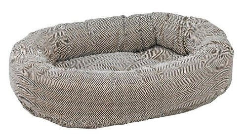 Donut Bed in Herringbone Fabric (Medium  35 x 27 x 8 in.)