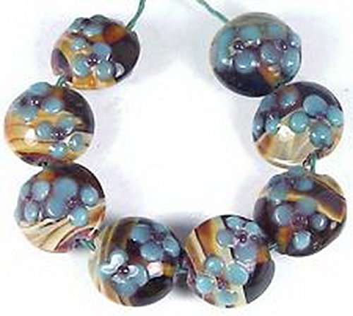 Glamorise Beads #13473 Lampwork Handmade Glass Amber Flower Lentil Beads 18mm