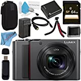 Panasonic Lumix DC-ZS200 DC-ZS200K Digital Camera (Black) + DMW-BLG10 Lithium Ion Battery + External Rapid Charger + 64GB SDXC Card + Small Carrying Case + Deluxe Cleaning Kit + Flexible Tripod Bundle