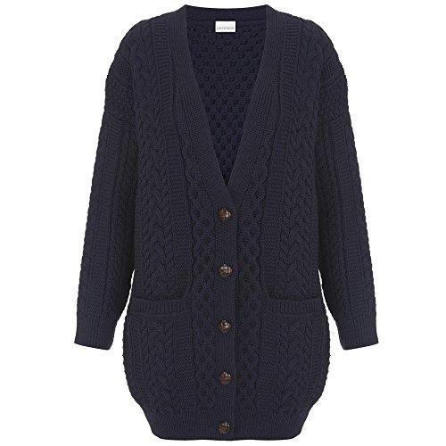 (Celtic & Co Womens Longline Boyfriend Style Merino Lambswool Cable Knit Cardigan - Navy -)