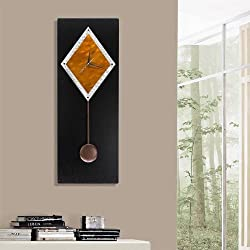 Sleek Black, Copper & Silver Modern Metallic Abstract Pendulum Wall Clock - Contemporary Time-Piece, Home Accent - Functional Moving Metal Art - Copper Paramount Clock By Jon Allen - 32-inch