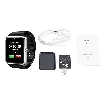 GT08 Unisex Reloj Inteligente con función de cámara Deportes Pulsera Bluetooth Hombre Mujer Reloj: Amazon.es: Electrónica