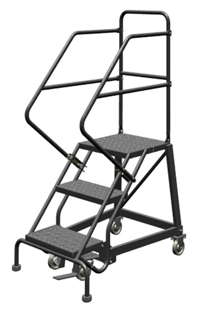 Tri-Arc KDEC103166 3-Step Forward Descent Safety Angle Steel Rolling Industrial and Warehouse Ladder with Perforated Tread, 16-Inch Wide Steps