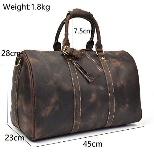 45cm Travel 2 Luggage 45cm Leather Men's Brown Weekend Bags Brown3 Bag 5vg5qwY
