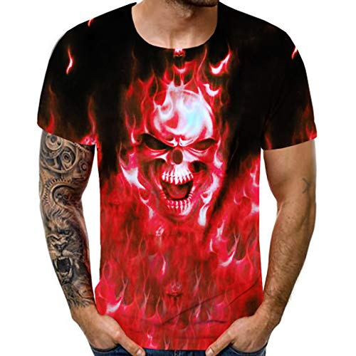 1b925bfd Zackate Men's 3D Skull Printed Short Sleeves T-Shirts for Men Fashion  Comfort Blouse Top