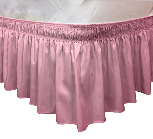 Easy Wrap Around Bed Ruffle With Pins included By CT Discount Store (King/Queens, Rose)