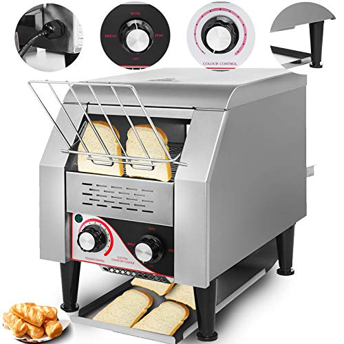 VEVOR Commercial Conveyor Toaster 150pcs/H Electric Conveyor Toaster 1350W Stainless Steel Conveyor Toaster 110V 60HZ for Restaurant Breakfast (150Pcs/H)
