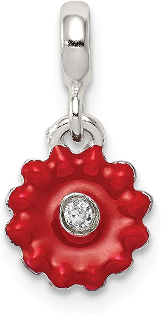 Solid 925 Sterling Silver Red Enameled Flower CZ Cubic Zirconia Enhancer 16mm x 8mm