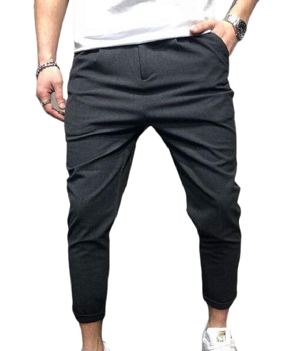 Jmwss QD Men Solid Color Cotton Flat-Front Slim Fit Casual Pants