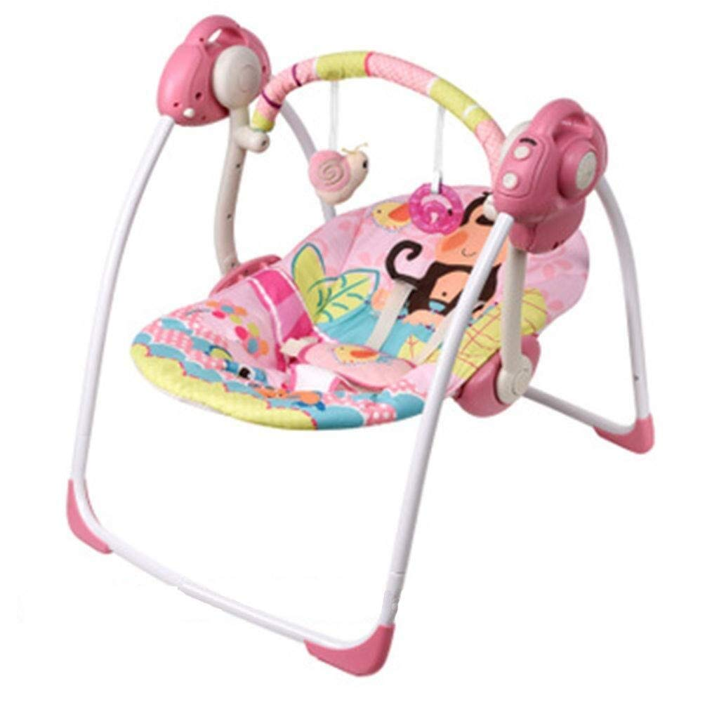 RENKUNDE Baby Electric Rocking Chair, Indoor and Outdoor Multi-Function Swing Chair, Portable Music Soothing Vibration Foldable Baby Bed Blue,Colour:Pink Baby Rocking Chair (Color : Pink) by RENKUNDE
