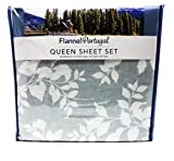 OEKO-TEX Flannel from Portugal 4 Piece Sheet Set, Size: Queen (Shadow Leaf)