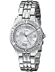GUESS Womens Stainless Steel Crystal Accented Watch, Color: Silver-Tone (Model: G75511M)