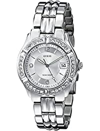 Womens Stainless Steel Crystal Accented Watch, Color: Silver-Tone (Model: G75511M