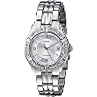 Women's Stainless Steel Crystal Accented Watch, Color: Silver-Tone (Model: G75511M)