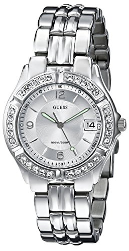 GUESS Women's G75511M Sporty Silver-Tone Stainless Steel Multi-Function Watch with Date Dial and Deployment Buckle (Guess Steel Watch)
