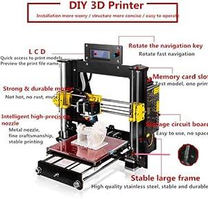 ZR-Printing 3D Printer, Prusa I3 Mk8 Printer Wood High Precision LCD Screen Desktop DIY 3D Printer Kit with Free 1.75mm ABS/PLA Printer Filament by ZR-Printing