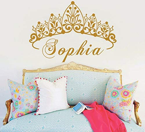 PPL21 (Leave a Message of Custom Information) Baby Girl Crown Vinyl Art Wall Sticker Princess Personalized Nursery Custom Girls Name Art Bedroom Decorative Decal Y-604 1 PCs ()